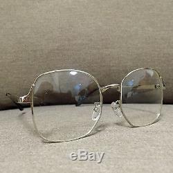 Silver Metal Frame Oversized Vintage Fashion Glasses 60s 80s