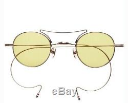 THOM BROWNE Round Sunglasses TB-902-A-GLD GOLD METAL FRAME LIGHT YELLOW SMALL 40