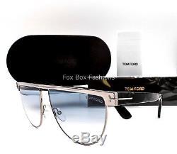 TOM FORD 570 14X Stephanie 02 Aviator Sunglasses Gunmetal Light Blue Gradient