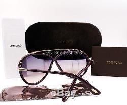 TOM FORD TF 454 81Z Tamara Butterfly Sunglasses Dark Violet Purple New
