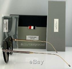Thom Browne Aviator Sunglasses Matte Black Pale Gold Metal Gray TB-809-A-BLK-GLD