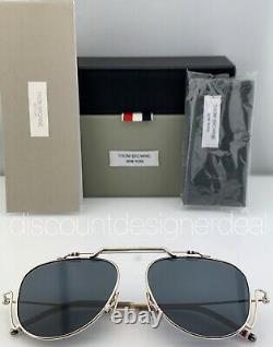 Thom Browne Aviator Sunglasses Silver Gold Titanium Frame Gray Lens TBS917-A-01