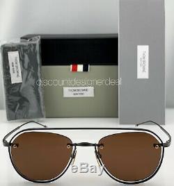 Thom Browne Aviator Sunglasses TBS112-52-03 Black Navy Blue Frame Brown Lens NEW