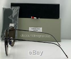 Thom Browne Aviator Sunglasses TB-015-LTD-BLK-GRY Black Frame Gray Flash Lens 62
