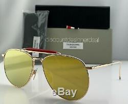 Thom Browne Aviator Sunglasses TB-015-LTD-GLD Gold Frame Gold Flash Lens 62
