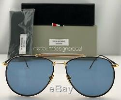 Thom Browne Aviator Sunglasses TB-015-LTD-NVY-GRY Navy Gold Blue Flash Lens 62
