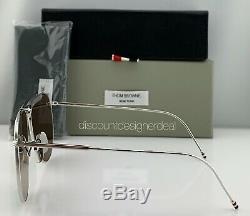 Thom Browne Aviator Sunglasses TB-015-LTD-SLV Silver Frame Silver Mirror Lens 62
