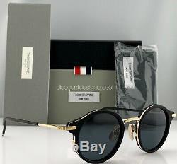 Thom Browne Round Sunglasses Black Gold Metal TB-807-A-T-BLK-GLD Small 45 NEW