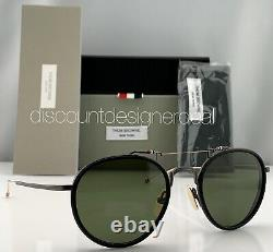 Thom Browne Round Sunglasses TBS815-53-01 Matte Gray Black Dark Green Lens 53mm