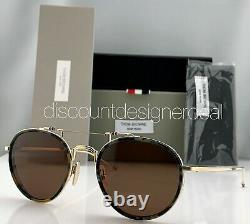 Thom Browne Round Sunglasses TBS815-53-02 Navy Tortoise Gold Brown Lens 53mm NEW