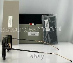 Thom Browne Square Sunglasses TBS816-53-01 Matte Black Gold Frame Green Lens