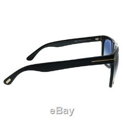 Tom Ford Morgan TF 513 01W Black Plastic Rectangle Sunglasses Blue Gradient Lens