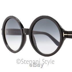 Tom Ford Round Sunglasses TF369 Juliet 01B Black/Gold FT0369