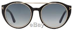 Tom Ford Round Sunglasses TF383 Joan 01W Black/Rose Gold FT0383