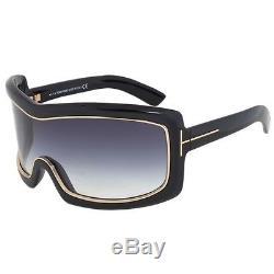 Tom Ford TF 305 Olga 01B Black Grey Shield FT0305/S Sunglasses Authentic ITALY