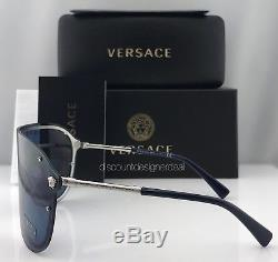 VERSACE MEDUSA MADNESS VE2180 Sunglasses 1000/80 Silver / Blue Lenses Brand New