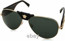 Versace 0VE2150Q Mens Genuine Leather Aviator Sunglasses, Gold Frame, Grey 62mm