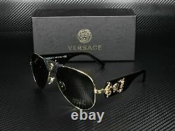 Versace VE2150Q 100271 Gold Grey Green Lens Men's Pilot Sunglasses 62mm