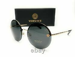Versace VE2176 125287 Pale Gold Grey Lens Women's Round Sunglasses 59mm