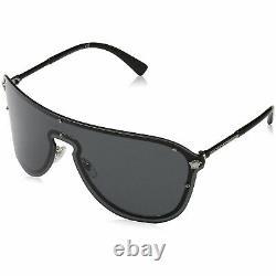 Versace VE2180 Shield Sunglasses Silver & Black/ Grey 44mm