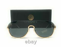 Versace VE2215 100287 Gold Grey Women's Pilot Metal Sunglasses 39mm