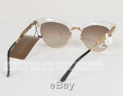 $ 470 Gucci Lunettes De Soleil Gg 4283 / S U29jd Cat Eye Mère De Perle En Métal Courant