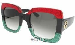 Authentic Gucci Gg0083s 001 Squared Ubran Lunettes De Soleil Rouge Noir Vert 55mm Nouveau