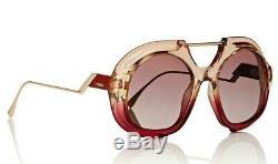 Authentique Fendi Ff0316 / S C48 / 3x Rose Rouge / Verres Marron Dégradé 55mm Lunettes De Soleil