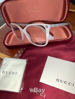 Authentique Gucci Gg0026o-003 Femmes Designer Ivoire Cat Lunettes 53mm Perle Nouveau