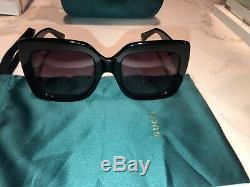 Authentique Gucci Gg0083s 001 54mm Surdimensionné Carré Noir Femme Lunettes De Soleil Nouveau