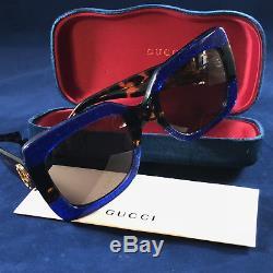 Authentique Gucci Gg0083s 003 Carré Bleu Havane Marron Lunettes De Soleil Femme Nouveau 55mm