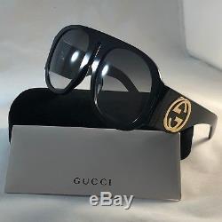 Authentique Gucci Gg0152s Noir Acétate Vert Lentille Monture Lunettes De Soleil Pour Femmes 100% Uv