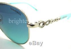 Authentique Lunettes De Soleil Aviator Tiffany & Co Infinity Silver Tf 3049b 60019s Nouveau