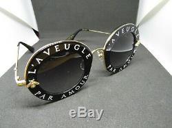 Authentique Lunettes De Soleil Gucci Gg0113s 001 Or Noir 44mm L'aveugle Par Amour