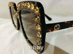 Authentique New Gucci Gg0148 S 001 Lunettes De Soleil Crystal Havana Frame Brown Lens