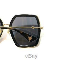 Authentique New Gucci Gg 0106s Lunettes De Soleil Cadres Noir Gris Lens Shade