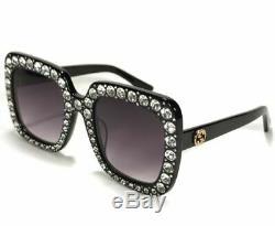 Authentique New Gucci Gg 0148s Lunettes De Soleil Noir Cristaux Cadres Oversize