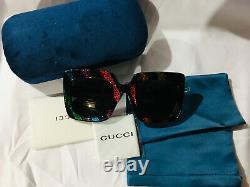 Authentique Nouveau Gucci Lunettes De Soleil Multicolor 005 Gg0328s Femmes Abat-jour Carré 53mm