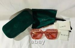 Authentique Nouvelle Gucci Gg0148s Lunettes De Soleil Crystal Pink Frame Lens