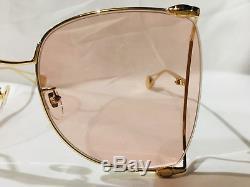 Authentique Nouvelle Lunettes De Soleil Gucci Gg0252s 0252s Or Rose Perle Oversize