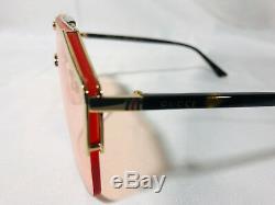 Authentique Nouvelle Lunettes De Soleil Gucci Gg0291s Gold Frame Pink Lens
