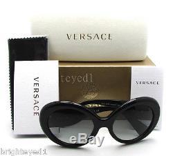 Authentique Versace Black Glitter Medusa Lunettes De Soleil Ve 4298 5156/11