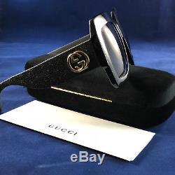 Authentiques Lunettes De Soleil Gucci Gg 0102s 001 Glitter En Noir 100% Uv