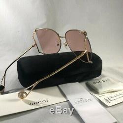 Authnetic Gucci Gg0252s Or / Rose (004 Ce) Lunettes De Soleil Surdimensionnées En Métal