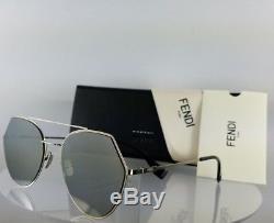 Brand New Authentique Fendi Ff 0194 / S Lunettes De Soleil 3yg0t Argent 55mm Cadre 0194