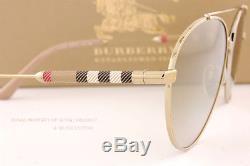 Brand New Burberry Lunettes De Soleil Be 3092q 1145 / 6e Or / Marron Miroir Or Hommes Femmes