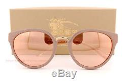 Brand New Lunettes De Soleil Burberry Be 4249 3281 / 7j Beige Marron / Or Rose Miroir Femmes
