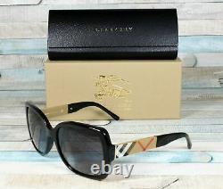 Burberry Be4160 34338g Black Grey Gradient 58 MM Lunettes De Soleil Rectangle Femme