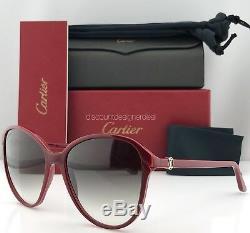 Cartier Femme Lunettes De Soleil Double C Décor Esw00111 Bordeaux Composite Grey Lens