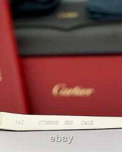 Cartier Femmes Lunettes De Soleil Cateye La Havane Silver Frame Temples Peach Ct0030s 002